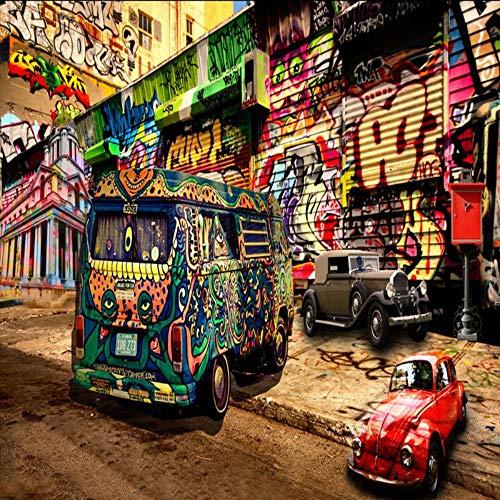 Worryd Fototapete 3D Hip Hop Stil Graffiti Bus Wandbild Hintergrund Wanddekoration Malerei Stereo Tapete KTV Wandbild, 200X140 CM (78,7 Von 55,1 In)