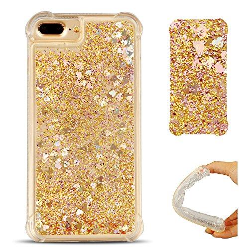 Cover iPhone 7 plus Custodia iPhone 8 plus Silicone Liquido Anfire Trasparente Flessibile Plastica TPU Case per Apple iPhone 7 plus/8 plus (4.7 Pollici) Sabbie Mobili Shell 3D Bling Glitter Floating Q Giallo