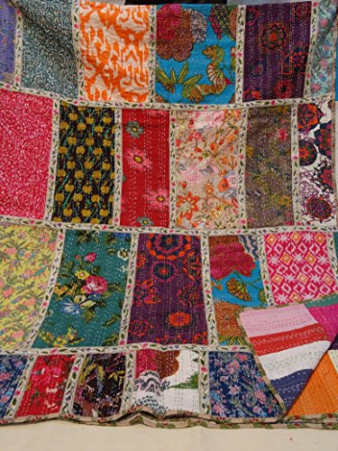 Tribal Asian Textiles Multicolor Paisley Patchwork Print Queen Size Kantha Quilt , Kantha Blanket, Bed Cover, King Kantha bedspread, Bohemian Bedding Kantha Size 90 Inch x 108 Inch 1111
