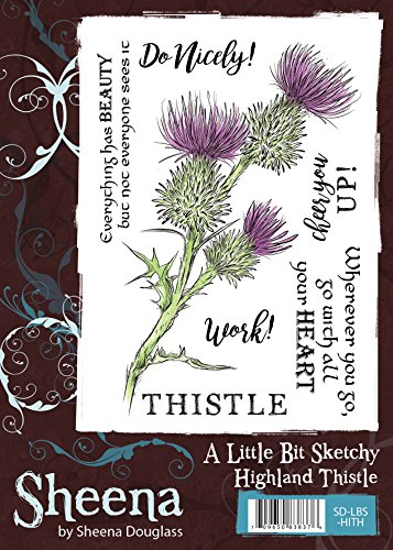 Crafters Companion Sheena Douglass - A Little Bit Sketchy A6 Stamp - Highland Thistle Highland Thistle