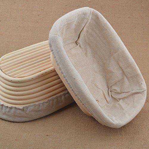 2pcs 8/20.5cm Rectangular Banneton Brotform Sourdough Dough Bread Proofing Proving Rattan Basket With Linen Liner UK New by ifsecond Bread Basket Liner