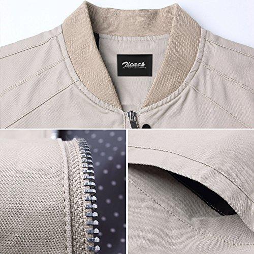 Zicac Herren Herbst Fashion Wear Baumwolle Stehkragen Slim Fit Jacke Junge Männer Beiläufige Mantel Outwear Khaki