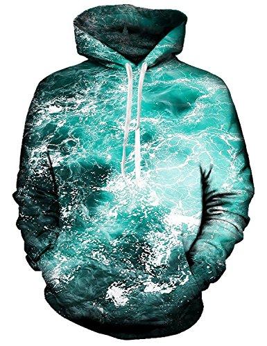Bliss-damen-lange Hülse (Idgreatim Jungen 3D Ocean Bliss Gedruckt Drawstring GroßE Taschen Hoodie Swearshirt , Ozean Glückseligkeit - S)