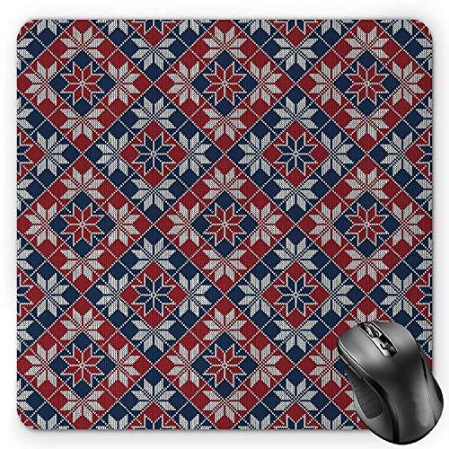 Nordic Wool (BGLKCS Nordic Mauspads Mouse Pad, Wool Knit Pattern with Tartan Geometric Stripes Flower Figures Print, Standard Size Rectangle Non-Slip Rubber Mousepad, Ruby Dark Blue Coconut)