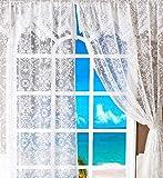 Spitzenvorhänge Vintage Dekoration Gardinen 2 PCS PACK Gardinen mit Spitze Weißer Vorhang Leinen 152 x 228 cm, weiß