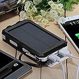 10000mAh Solar Power Bank, Solar Ladegerät, Externer Akku mit superhelle Taschenlampe, Akku pack für Handy (Schwarz-Weiß) - 5