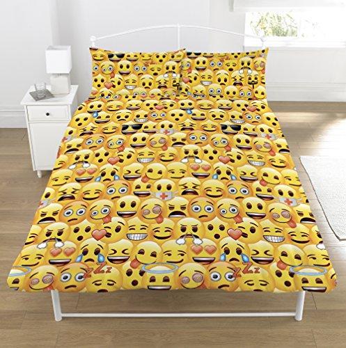 Emoji de cama individual, amarillo, doble