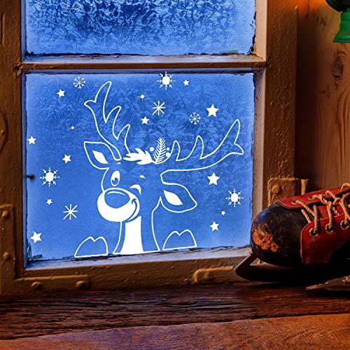 ilka parey wandtattoo-welt Fensterbild Elch Hirsch im Schnee Schneeflocken Sterne Winterlandschaft Fensterdeko Kinderzimmer M-2407 - ausgewählte Größe: *L - 40cm breit x 40cm hoch*