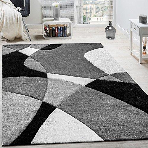 Alfombra De Diseño Moderna Estampado Geométrico Contorneada En Negro Blanco, tamaño:160x230 cm
