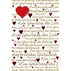 Glückwunschkarte Geburtstagskarte Geburtstag mit roten Herzen