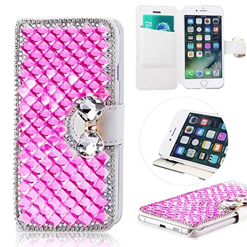 MOMDAD Coque iPhone 7 Etui Ultra Slim et Fonction support et Card Slot Series Coque en Cuir Flip Cover Wallet Coque pour Apple iPhone 7 Case ZPT-Rose