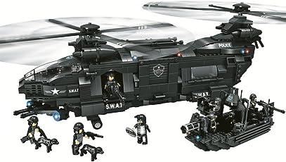 WOMA Lego-Set von Polizei SWAT-Einheit, mit Militär-Helikopter und Boot, Modellbau, Bausteine kompatibel mit anderen Lego-Bausteinen, 1351pcs