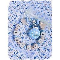 Catenella portaciuccio | con nome personalizzabile | azzurro | soothie pacifier clip