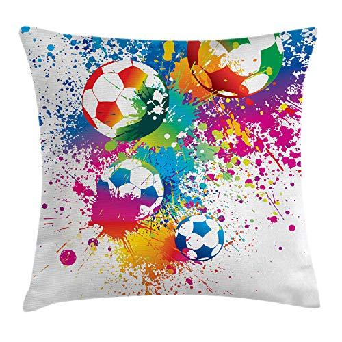 ABAKUHAUS Fußball Kissenbezug, Bunte Glocken, 40 x 40 cm, Dekorative Kissenhülle mit Beidseitigem Druck verstäckten Reißverschluß Waschbar, Mehrfarbig - 40 Fußball