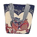 TEBAISE Damen Schultertasche Mädchen Cartoon Eule druckte Canvas Handtasche Schultertasche Umhängetasche Schultertaschen Geschenk der Frauen Segeltuch-Beutel-beiläufige Strand-Beutel-Einkaufstasche