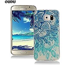 OuDu Funda para Samsung Galaxy S6 Carcasa Protectora Caso Silicona TPU Funda Suave Soft Silicone Case Cover Bumper Funda Ultra Delgado Carcasa Flexible Ligero Caja Anti Rasguños Casco Anti Choque - Loto Azul