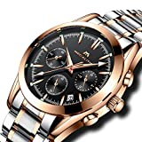Mens Stainless Steel Chronograph Watches Men Date Calendar Luxury Design Analogue Quartz Counts Watch Gents Multifunction Business Casual Dress Wrist Watch with Rose Gold Case Black Dial