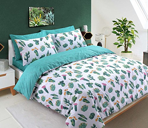 Tropical Green Plant Cactus Design Reversible Teal Duvet Cover Set with Pillowcases Bedding Set(Double) Best Price and Cheapest