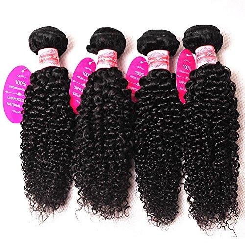 OFFAY natives brasilianischen natives locken 4 Gewirr Bundles Mix Zoll unverarbeitete Echthaar Extensions Naturfarben gefärbt und gebleicht werden kann kostenlos , 12 14 16 (Extensions Neon Hair)