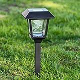 Baliza solar de jardín con farolillo cuadrado, 48,5 cm, LED luz cálida, luces de exterior, focos de jardín, luces solares