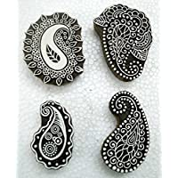 Lot of Four Exotic Paisley design Wooden Block stamps/Tattoo/Indian Textile Printing Blocks