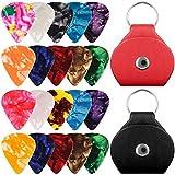 20 confezioni di chitarra cellululoidale con supporto, SENHAI 10 confezioni da 0.96mm e 10 confezioni da 0,71mm Eleganti scatti colorati, con 2 custodie protettive in pelle PU - Nero, Rosso