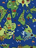 World Map Stoff - 0,5 M Mehrlingen - TT047 Landkarte Stoff