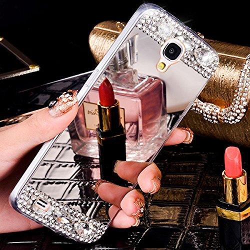 Custodia Cover per Samsung Galaxy Note 4, Ukayfe Cover Specchio Lusso Placcatura Lucido di Cristallo di Scintillio Strass Diamante Glitter Caso per iPhone 7 Plus[Crystal TPU] [Shock-Absorption] Protet Argento1#