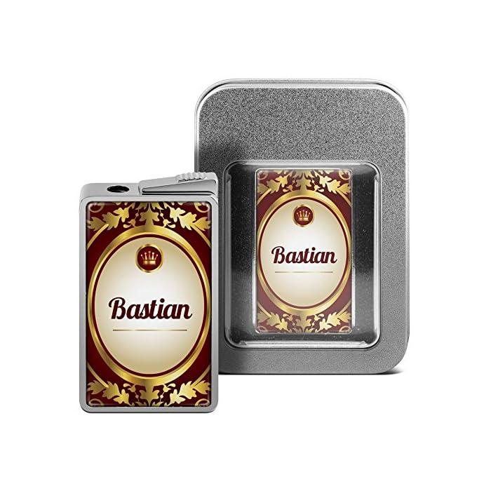 printplanet Feuerzeug mit Namen Bastian - personalisiertes Gasfeuerzeug mit Design Ornamente - inkl. Metall-Geschenk-Box