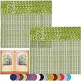 Bestlivings Fadenvorhang 2er Pack Gardine Raumteiler, Auswahl: 90x240 grün - apfelgrün