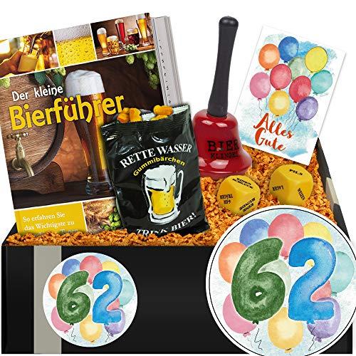 Zum 62. Jubiläum | Bier Geschenkset + Trinkspiel | Geschenk 62. Männer