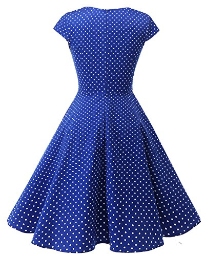 Bbonlinedress Robe femme de cocktail Vintage Rockabilly Robe plissée au genou sans manches col carré Rétro RoyalBlue Small White Dot
