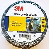 3M Gewebe-Klebeband - Haftstark, von Hand abreißbar, wetterbeständig - 50 mm x 50 Meter, schwarz
