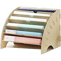 Rangement de Bureau Corbeille à document A4 avec 6 Compartiments Boîte de plaquette combinable Organisateur pour Chemise…