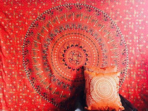 Indian rot schwarz grün Camel Tapisserie Wandbehang Elefanten Mandala Überwurf Hippie Gypsy, Bohemian Wohnheim Deco 100% Baumwolle Twin Single 203,2x 137,2cm handbedruckter Block Print Design Mandala Wandteppich für Beach Tagesdecke bazzaree UK Verkäufer - Deco-twin-bett