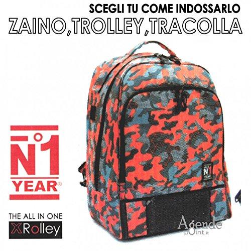 Zaino XROLLEY 3 in 1 trolley zaino e tracolla con multitasche mimetica rosso