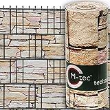 Sichtschutzstreifen mit Motiv / M-tec print® / PVC / hellen Sandstein Tessin ✔ für 3 Reihen im Zaunfeld ✔ für Gttermattenzaun ✔ inkl. 6 Klemmschienen ✔ - SIE KAUFEN HIER DIREKT BEIM HERSTELLER -