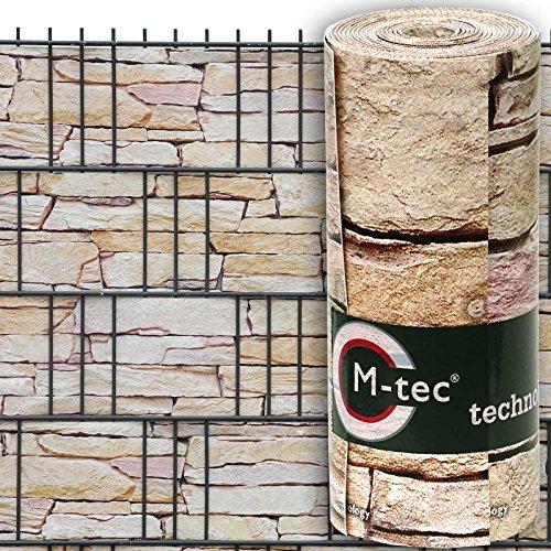 M-tec technology GmbH Sichtschutzstreifen mit Motiv/M-tec print ®/PVC/Sandstein Tessin ✔ für 9 Reihen im Zaunfeld ✔ inkl. 18 Klemmschienen ✔ – SIE KAUFEN HIER DIREKT BEIM