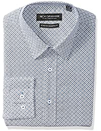 Nick Graham Men's Modern Fitted Medallion Print Stretch Dress Shirt