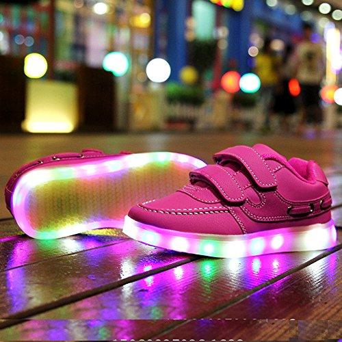 UDreamTime Unisex Kinder USB Charging LED leuchtende Haken-und-Loop-Straps Sportschuhe Flashing Turnschuhe Rosa