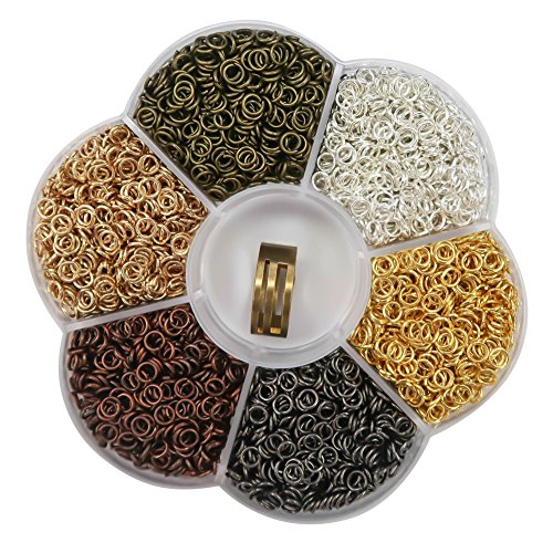 TOAOB 2400 Stück Biegeringe Spaltringe 4mm 6 Farben mit Öffner Näher für Perlenweben Zubehör
