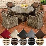 CLP Polyrattan-Sitzgruppe MOA | Garten-Set: EIN runder Esstisch mit Glasplatte und Vier Sessel | In Verschiedenen Farben erhältlich Bezugfarbe: Terrabraun, Rattan Farbe grau-meliert