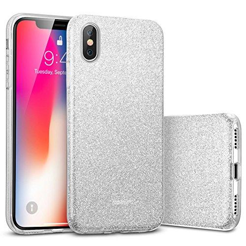 ESR iPhone X Hülle [Kabelloses Aufladen Unterstützung], Luxus Glitzer Bling [Glänzende Mode][Ultra Dünn] Designer SchutzHülle für Apple iPhone X / iPhone 10 5.8 Zoll 2017 Freigegeben. (Silber)
