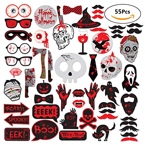 55pcs Scary Halloween Requisiten Photo Booth Party Supplies Halloween Gastgeschenken Fotografie Requisiten Kit (Einfach Scary Halloween Requisiten)