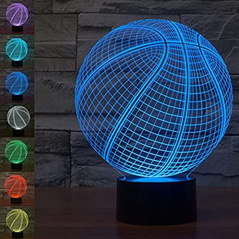 Jawell 3d Illusion lampe Veilleuse Basketball 7 couleurs changeantes Touch USB Table Nice Cadeau Décorations de jouets