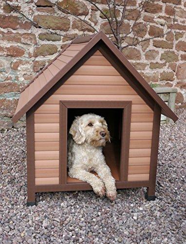 Rosewood 02061 Wetterfeste Spitzdach-Hundehütte für kleine Hunde, aus Holz und Kunststoffwerkstoff, mit verstellbaren Füßen - 2