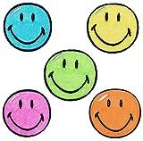 3 tlg Set: XL Bügelbilder - Smiley bunt - 12,5 cm * 12,5 cm - Aufnäher gewebter Flicken / Applikation - Gesichter Smile Emotion Smileys / lachend grinsend - bunt World - Mädchen Jungen Kinder Erwachsene - Smilies