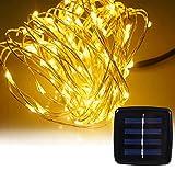 Solar LED lichterkette Außen 8 Beleuchtung Modi Kupferdraht Lichterkette 10M Solarleuchten Garten Warmweiß 100 LEDs