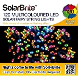 Solar Brite Deluxe Multi Coloured Solar Fairy Lights 120 LED Super Bright Decorative String, choice of light effect. Ideal for Trees, Gardens, Parties & More...