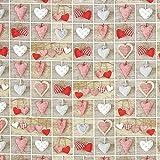 Fabulous Fabrics Weihnachtsstoff Herzen - hellgrau -